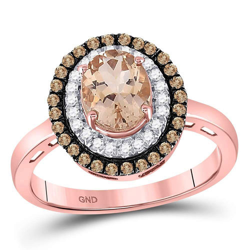 10k Rose Gold, 1ct Morganite, Chocolate and White Diamonds Ring $499