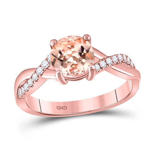 10k Rose Gold, Morganite 1ct and 1/3ct Diamonds Ring $499